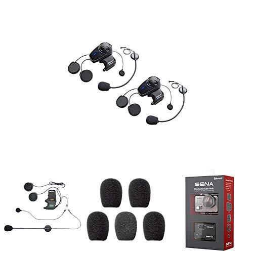 SMH10D-11 Bluetooth-Headset und Gegensprechanlage + SMH-A0302 Helmklemmenset - Anbringbares Bügelmikrofon + SC-A0109 Mikrofonaufsätze + GP10-02 Bluetooth Audio-Pack & Zubehör