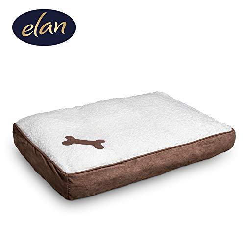 elan ® Hundekissen - bequemes Hundebett - leicht zu reinigen - atmungsaktives Material - edle Lammfelloptik - Ideal zum Transport 68x42cm