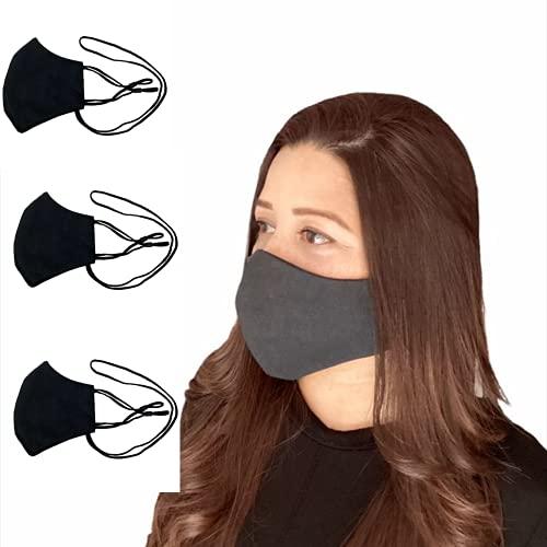 Anilev Mascarilla de tela negra reutilizable homologada lavable con colgante y reguladores 3 capas para mujer hechas en España (Pack de 3 empaquetadas individualmente)