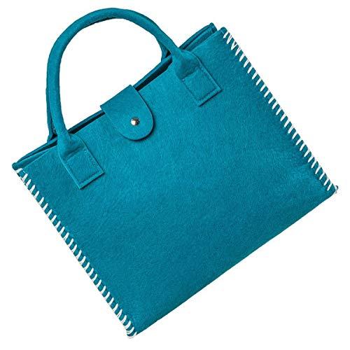 LaFiore24 Filz Einkaufstasche Damen Shopper Handtasche Henkeltasche Festival blau türkis