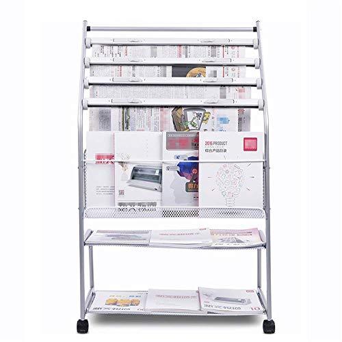 N/Z Inicio Equipo Negocios Exhibición de Feria Comercial Catálogo de Estante de revistas móvil Exhibición de Literatura de pie con diseño Escalonado (Color: Plata Tamaño: 105x63.5x36cm)