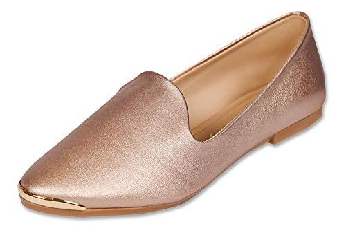 Clasben Calzado Dama Mujer Zapato Flat Tipo Piel Orodo, color Rosa, 26.0 cm