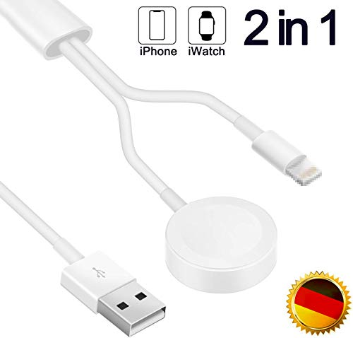 iPhone & Apple Watch 2 in 1 Ladegerät, Lightning Kabel & Magnetisches Ladekabel für Apple Watch,Wireless Charging Cable Kompatibel für iWatch Series 5/4/3/2/1 Phone 11/11P/XR/XS/X/8/7/6/Pad Air/Mini