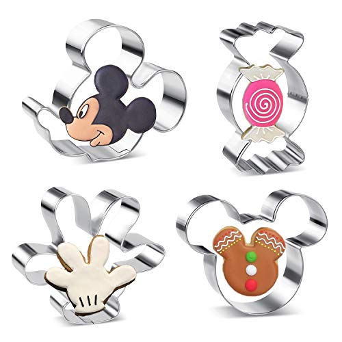 Olywee - Juego de cortadores de galletas para niños, 4 piezas, diseño de Mickey Mouse, cara lateral de Mickey Mouse, palma y caramelo de acero inoxidable