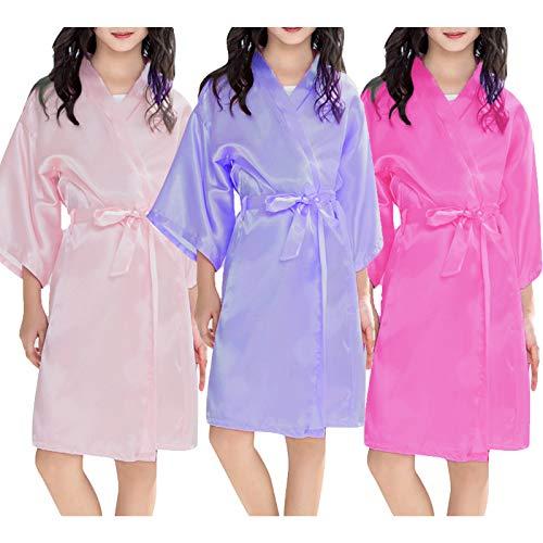 Kids Girls Silk Satin Kimono Robe Dressing Gown Children Bathrobe Nightwear Cute Kimono Floral Robe Night Gown Sleepwear for Spa Wedding Birthday Party Dress for 2-11 Years