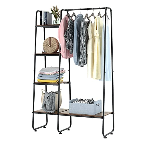 Metal Garment Rack, Freestanding Clothing Coat Rack with 5 Wood Storage Shelves and Hanging Bar, Open Wardrobe Closet Storage Organizer, For Living Room Entryway