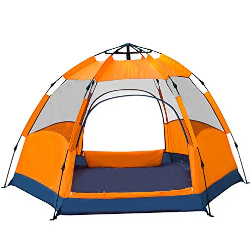 QinWenYan Outdoor Tents Hexagonal Automatic Tent Outdoor 3-4 People 5-8 People Multi-person Double-layer Large Camping Outing Rainproof (Color : Orange, Size : A-5-8people)