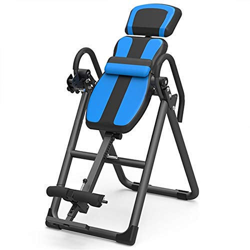 LQQ Foldable Inversion Table Gravity Heavy Duty Inversion Equipment Adjustable Back Stretcher Machine Home Gym Trainer Chair for Pain Relief Therapy