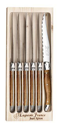 El estuche de madera de 6 carne Laguiole imitación madera de olivo hoja micro dentees