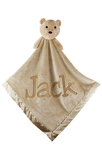 Custom Catch Personalized Teddy Bear Baby Blanket Gift for Boy or Girl - Brown