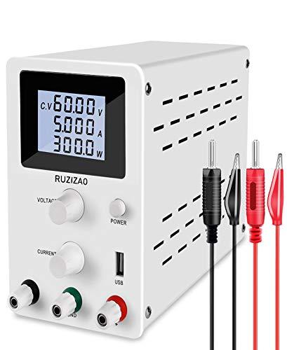 RUZIZAO - Alimentatore da laboratorio 0-60 V/0-5 A, regolabile, con display digitale stabilizzato, spina a banana morsetto coccodrillo, cavo di prova, alimentatore laboratorio, R-SPS605, bianco