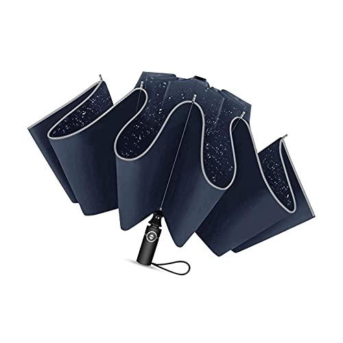 46 pulgadas a prueba de viento paraguas plegable para hombres mujeres auto abierto cierre acero azul lluvia paraguas viaje al aire libre