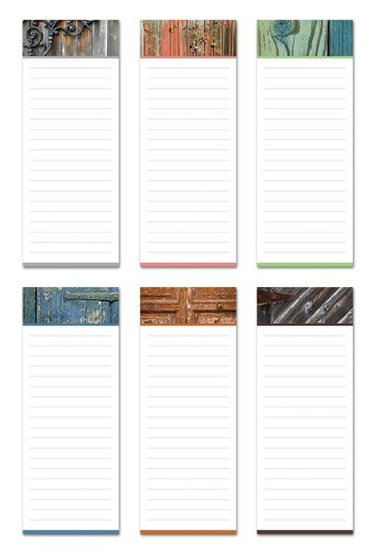 Note Card Cafe 6-Pack Magnetic Notepads | 50 Sheets per Pack | 3.5 x 9 in | 6 Rustic Designs | Memo Pad Great for Fridge, Planning, Notes, to-Do List, Grocery Shopping List, Recipes, School Reminders
