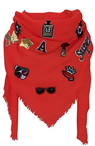 XXL PATCHES Damen STICKER Karo Schal Tuch Deckenschal Karoschal Halstuch Fashion Plaid (Rot)