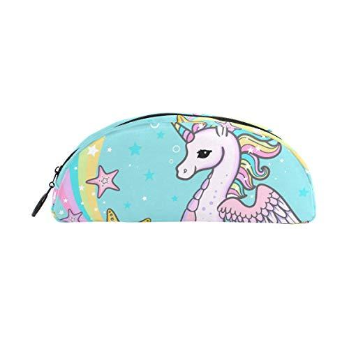 Pen Case Stationary Rainbow Cartoon Seahorse Licorne Crayon Sacs Demi-cercle Pochette Portable pour Enfants Enfants Sac Cosmétique Maquillage Beauté
