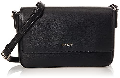 DKNY Women's Bryant-Md Flap Xbody Crossbody, Black Gold, One Size