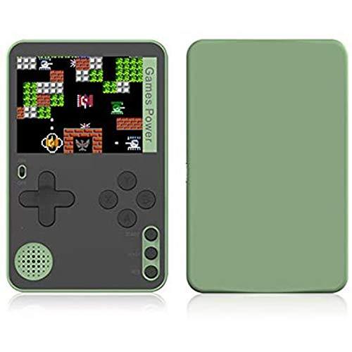Consola de juegos retro portátil, reproductor de mini juegos 500 juegos clásicos integrados Pantalla de 2.4 pulgadas, máquina de juego de tarjetas de bolsillo recargable para niños adultos (Green)