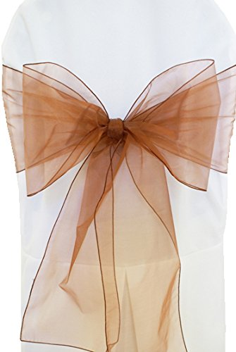 "Wedding Linens Inc. (10 PCS) 7.5"" x 108"" Organza Chair Sashes / Sheer Organza Chair Sash Bows Chair Bow Ties for Wedding Decoration Party Banquet Events - COPPER"