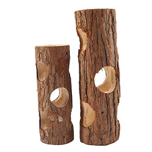 Balacoo 2個ハムスタートンネルのおもちゃの天然木製ハムスターマウスチューブ森中空ツリートランクハイダウェイラットモルモットハムスターフェレットチンチラハリネズミ15センチメートル20センチメートル