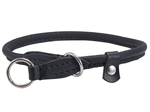 Dogs My Love Round Genuine Rolled Leather Choke Dog Collar Black (20