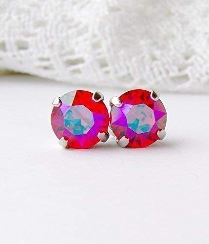 8mm Light Siam glacier blue rhinestone stud earrings made with Swarovski crystals