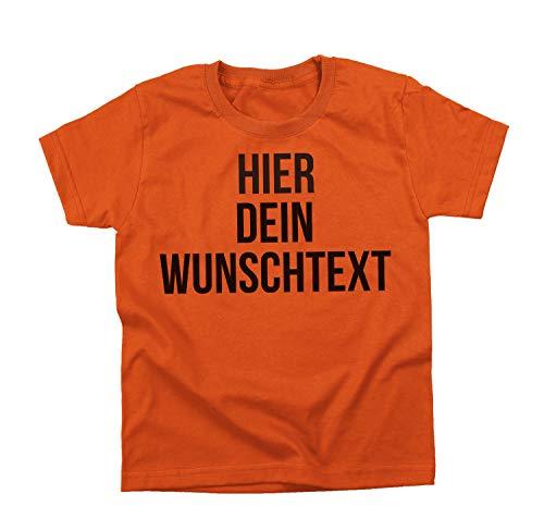 Kinder Jungen und Mädchen T-Shirt mit Wunschtext - Selber gestalten mit dem Amazon T Shirt Designer - Tshirt Druck - Shirt Designer Rundhals Kinder T-Shirt-orange-s