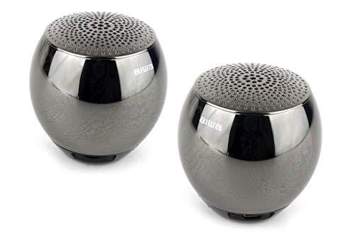 AIWA Atom Bluetooth-Lautsprecherpaar|Tragberer Bluetooth Musikbox| Gehäuse aus gefräster Metalllegierung (schwarz)