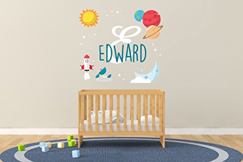 Custom Name Planets Moon Sun and Space Rocket - Baby Boy - Nursery Wall Decal for Baby Room Decorations - Mural Wall Decal Sticker for Home Children
