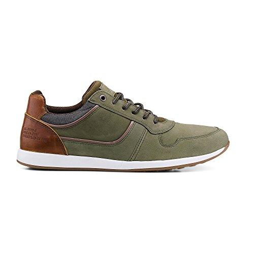 Cox Herren Freizeit-Schnürer, grüne Sneaker im gefragten Vintage-Look Grün Leder 42