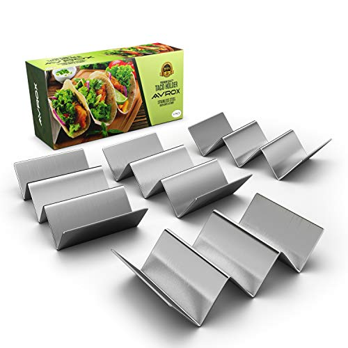 "Pack of 4 - Stainless Steel Taco Holder Stand - Truck Tray Style - Each Rack Holds Up to 3 Tacos - Oven, Grill & Dishwasher Safe - Size 8"" x 4"" x 2"""