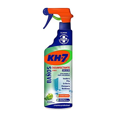 KH-7 Baños Desinfectante - Máxima Eficacia Sin Esfuerzo, Fórmula sin Lejía, Elimina el 99,9% de Bacterias y Virus Encapsulados, de Fácil Aclarado y con Aroma a Manzana y Hierbabuena - 750 ml