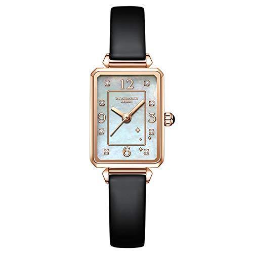 YQCH Verde Malachite Reloj Rectángulo Japón Movimiento de Cuarzo Slim Damas de Acero Inoxidable Malla Impermeable Rosa y Beewatches para Mujeres (Color : G)