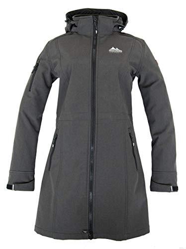 Nordberg Damen Softshell Mantel   Longjacke Gisella in schwarz mit Abnehmbarer Kapuze und windgeschütztem Reißverschluss