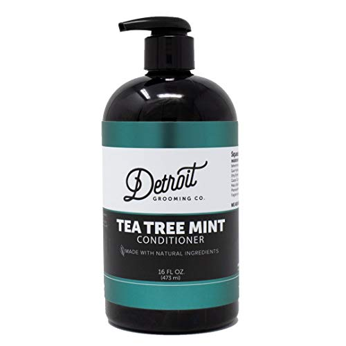 Detroit Grooming Co. Conditioner - Tea Tree Mint - Essential Oils, Vitamins, Natural Plant Based Ingredients Moisturize, Heal, and Preserve the Skin and Hair - Best With Shampoo and Beard Wash (16oz)