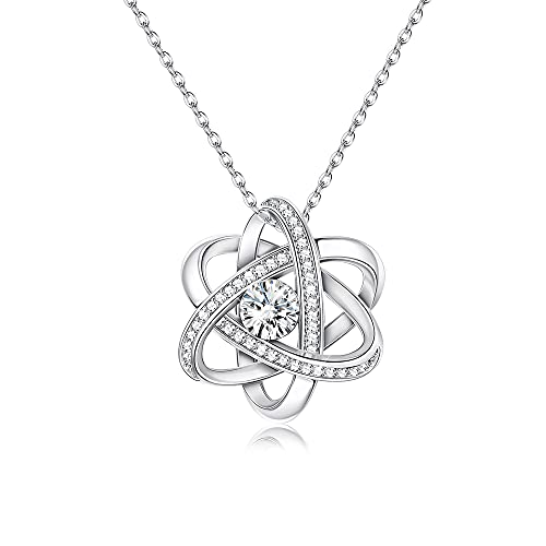 Sllaiss Austria Crystals Celtic Love Knot Necklace endless Flower Pendant Necklace set with AAA Cubic Zirconia Anniversary Jewelry Gift for Women
