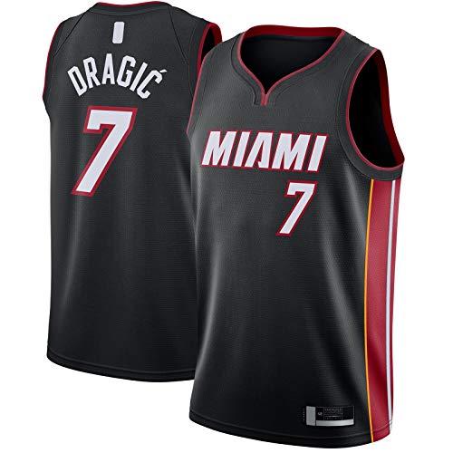 ANMOQI Negro - Dragic Clothing Jersey de baloncesto Miami Bordado Goran Manga Corta #7 Swingman Jersey Heat Icon Edition-XL