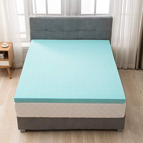 """Mecor 3 Inch 3"""" 100% Gel Infused Memory Foam Mattress Topper -King Size Ventilated Design Bed Mattress Topper for Side, Back, Stomach Sleepers- Promotes Airflow Blue"""