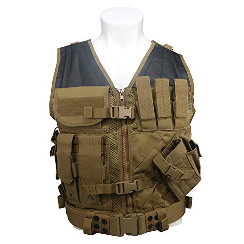 LQARMY Tactical Adjustable Lightweight Molle Airsoft Vest Military Assault Swat Vest for Law Enforcement Combat Training Games