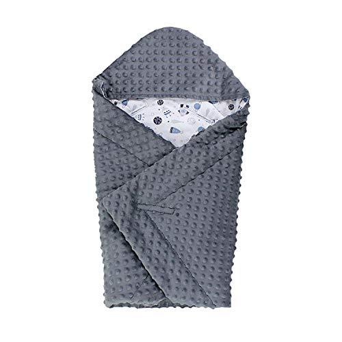TupTam Baby Sommer Einschlagdecke für Babyschale, Farbe: Kosmos Blau/Grau, Größe: ca. 75 x 75 cm