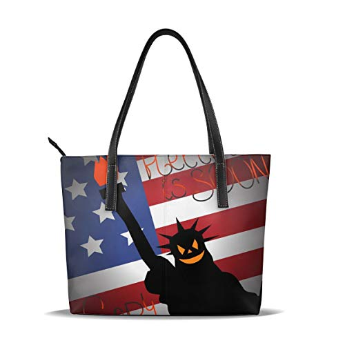 Frauen Casual Tote Halloween Ist Bald mit Amerika Flagge Handtaschen Damen Umhängetaschen für Shopping Travel