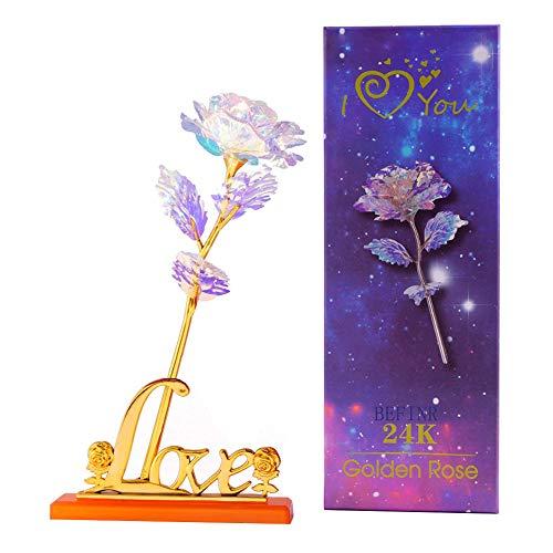 Auelife Künstliche Rose Geschenke 24K Galaxy Rose Flower mit Love Shape Base zum Valentinstag Thanksgiving Muttertag Mädchen Geburtstag Jubiläum Hochzeitsgeschenk