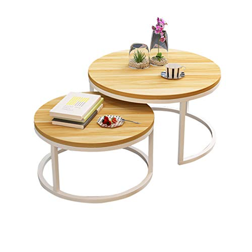 Set of 2 Nesting Coffee Tables Lacquered Yellow White, Round Side Table Modern Scandinavian, End Table for Living Room, Extensible, Stackable, Wood Finishes