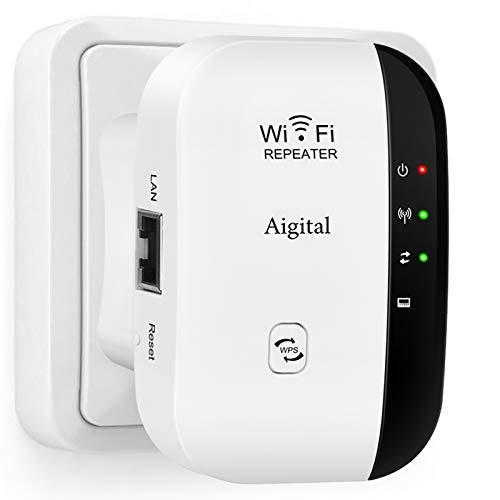 Aigital WLAN Repeater 300mbit/s, WLAN Verstärker für zu Hause mit LAN Ethernet, WPS und Modus Access Point Einfache Einrichtung, Funktioniert mit Allen WLAN-Routern Günstige Alternative