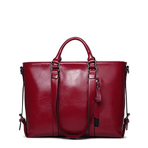 LINJIANG Bolso Femenino De Moda, Bolso Portátil, Bandolera, Bolso Grande Retro De Moda, Estereotipo Rojo Vino