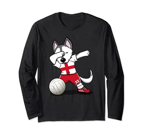 面白いハスキー犬 イングランド バレーボールファン - 英語の旗 Husky England Volleyball 長袖Tシャツ