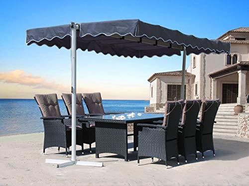 QUICK STAR Stand Markise 3,75x2,25m Terrassenüberdachung Dubai Grau