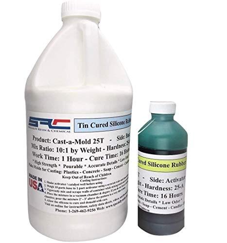 Cast-A-Mold 25T Rtv - Liquid Silicone Mold Making Rubber for Casting Soap, Candles, Cement, Concrete, Epoxy and Polyurethane - 1/2 Gallon