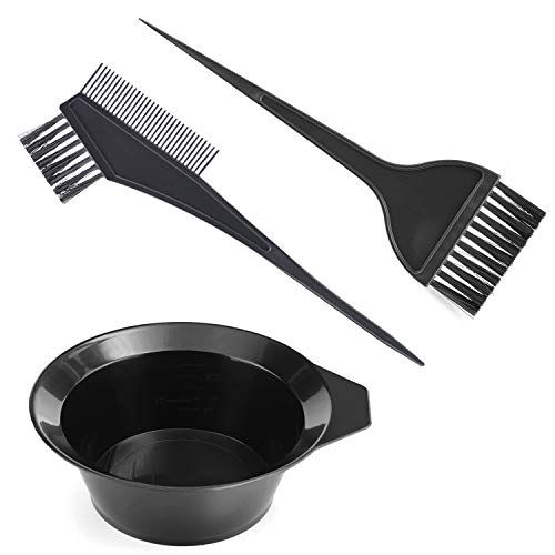 Gezimetie 3Pcs Hair Colouring Tools, Hair Dyeing Tool Set, Brush Double-sided Coloring Comb and Bowl Set Kit DIY Salon (3PCS)