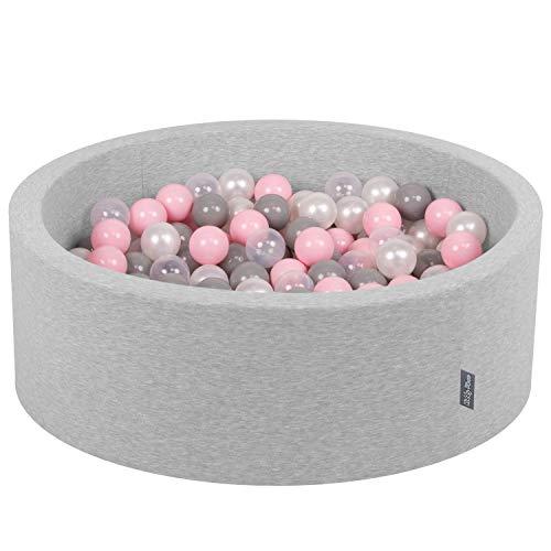 KiddyMoon Bällebad 90X30cm/300 Bälle ∅ 7Cm Bällepool Mit Bunten Bällen Für Mädchen Babys Kinder Rund, Hellgrau:Perle-Grau-Transparent-Rosa