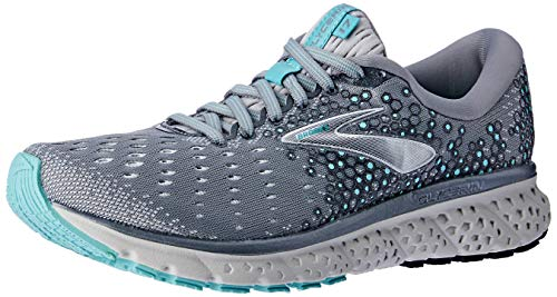 Brooks Womens Glycerin 17 Running Shoe - Grey/Aqua/Ebony - B - 9.0